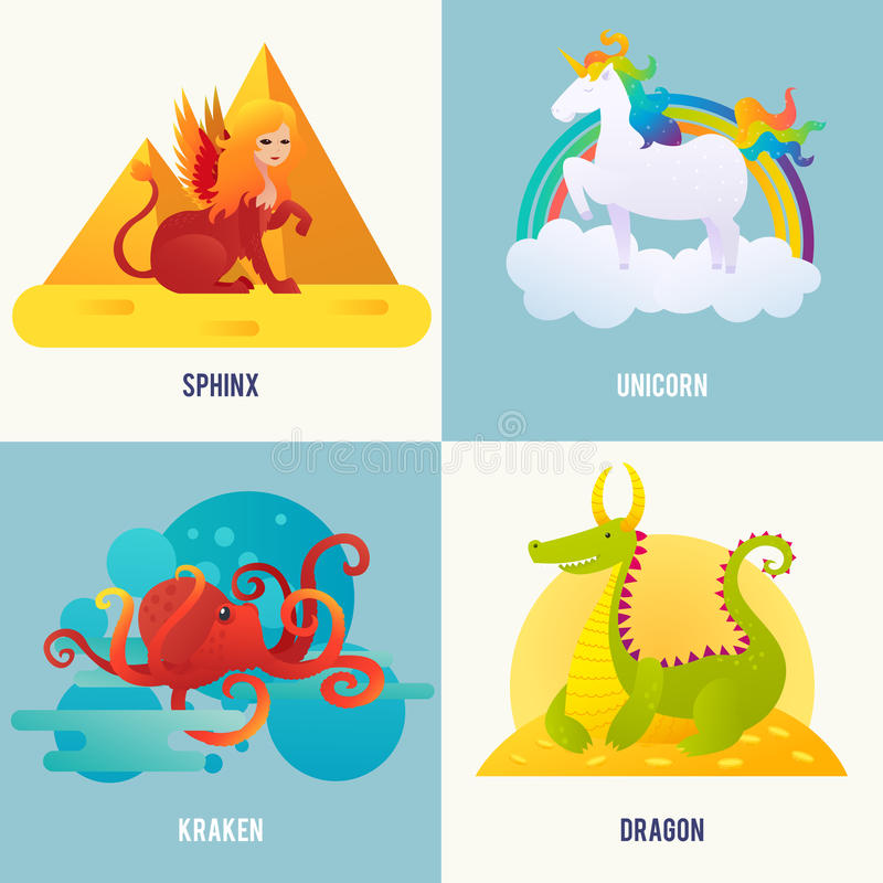Fantasy Creatures Concept. With sphinx sitting near pyramids unicorn walking on cloud kraken in water dragon lying on gold vector illustration royalty free illustration