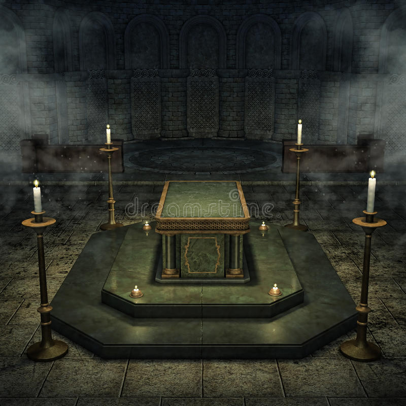 Fantasy crypt with candles. Fantasy crypt with a sarcophagus and candelabras stock illustration
