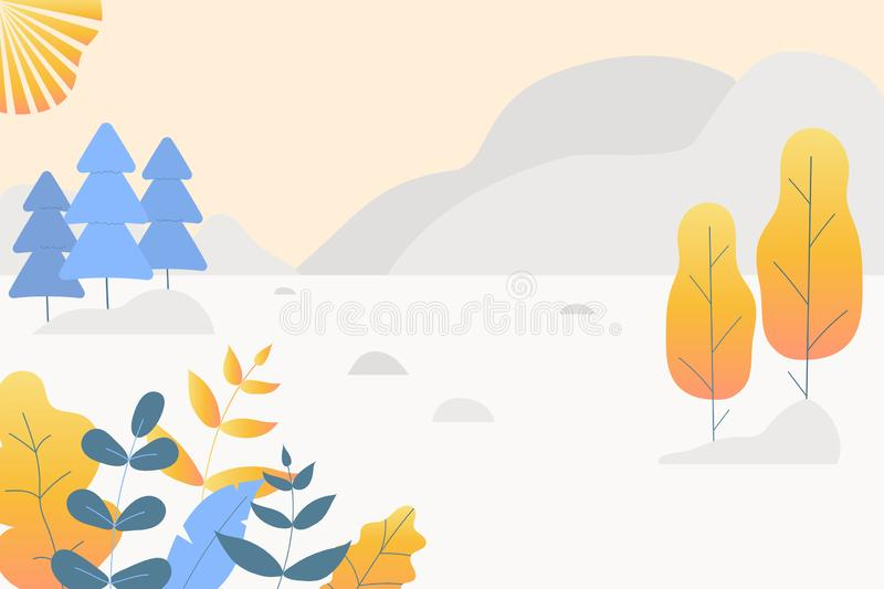 Fantasy cute autumn landscape. Trendy fashion plants, leaves,mountains,sun and nature in minimalistic flat design style. Bushes,. Trees,pines. Vector royalty free illustration