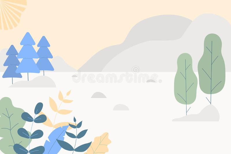 Fantasy cute landscape. Trendy fashion plants, leaves,mountains,sun and nature in minimalistic flat design style. Bushes, trees, vector illustration