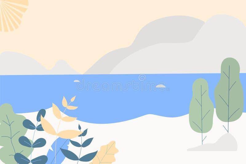 Fantasy cute seaside landscape. Trendy fashion plants, leaves,mountains,sun,sea and nature in minimalistic flat design style. vector illustration