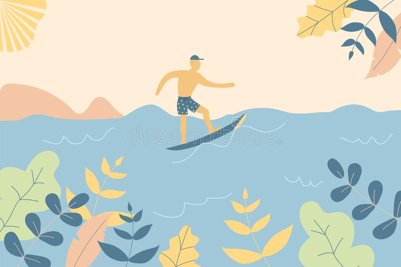 Fantasy cute seaside landscape. Trendy fashion plants, leaves,mountains,sun,sea,surfer and nature in minimal flat design style. stock illustration