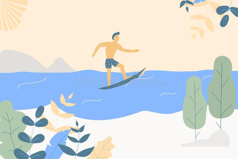 Fantasy cute seaside landscape. Trendy fashion plants, leaves,mountains,sun,sea,surfer and nature in minimalistic flat design vector illustration