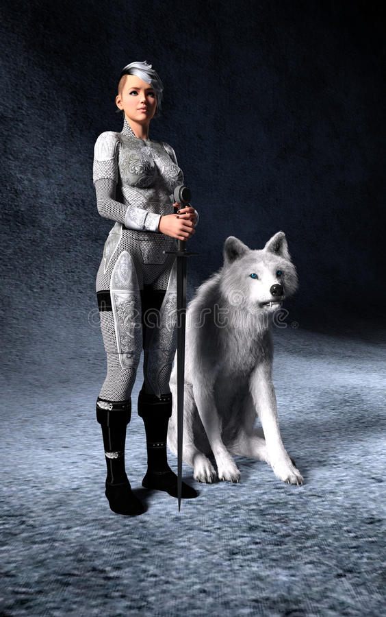 Fantasy 3D render of woman holding a sword with white wolf at he. Fantasy woman with sword standing on guard with her companion wolf on a dark blue background royalty free illustration