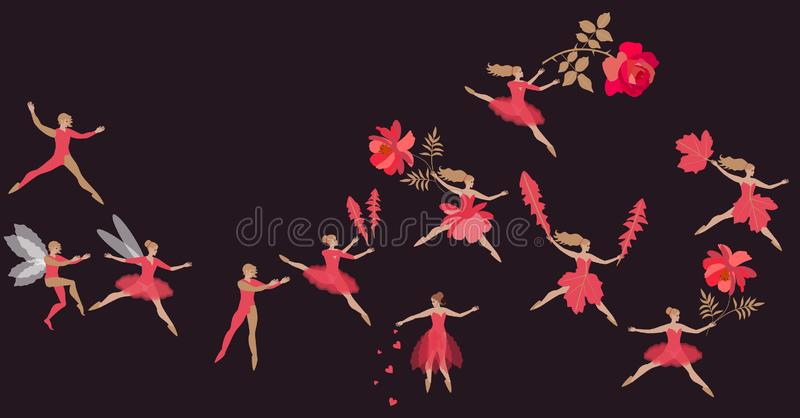 Fantasy dance of beautiful fairies and elves in red costumes. Spring flight of magic characters with flowers. Vector illustration.  royalty free illustration