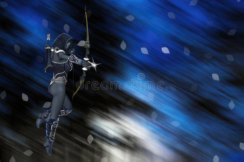 Fantasy Dark Elf Archer Class Background Illustration stock photo