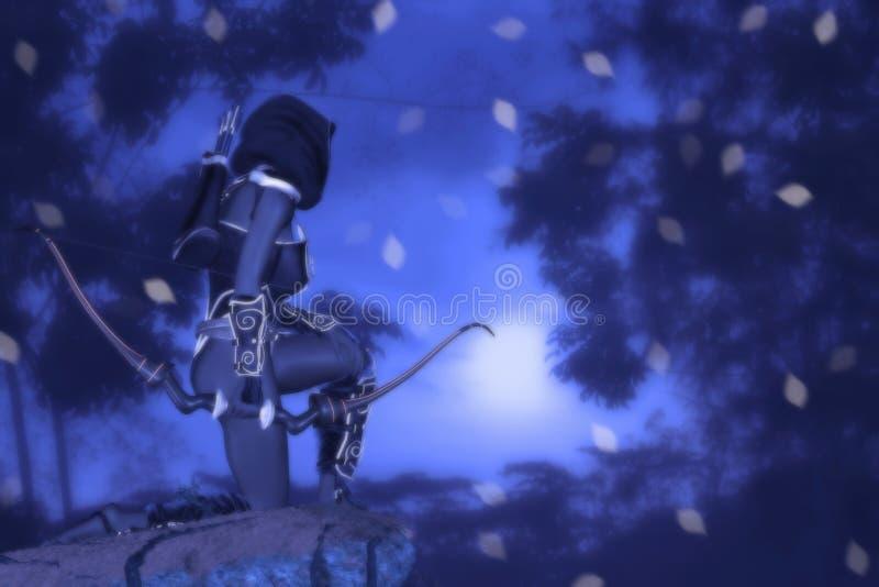 Fantasy Dark Elf Archer Looking Faraway Illustration royalty free stock photography