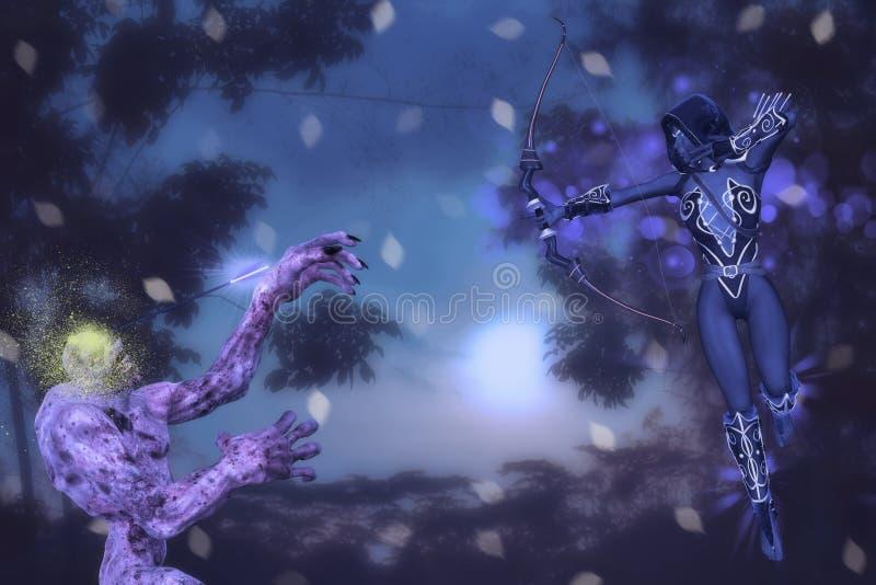 Fantasy Dark Elf Combating Monster Creature Illustration royalty free stock image
