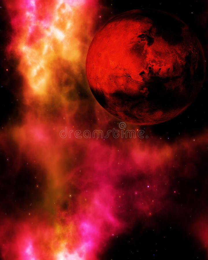 Fantasy deep space with red planet stock photo
