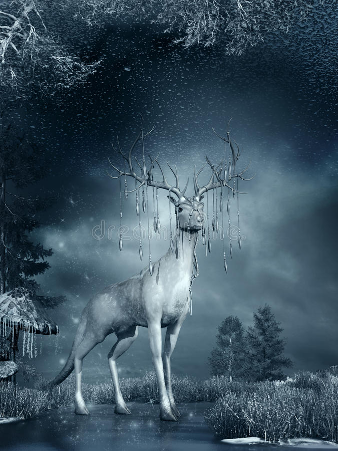 Fantasy deer on the frozen pond. Night winter scene with magic deer, frozen grass and ice stock illustration