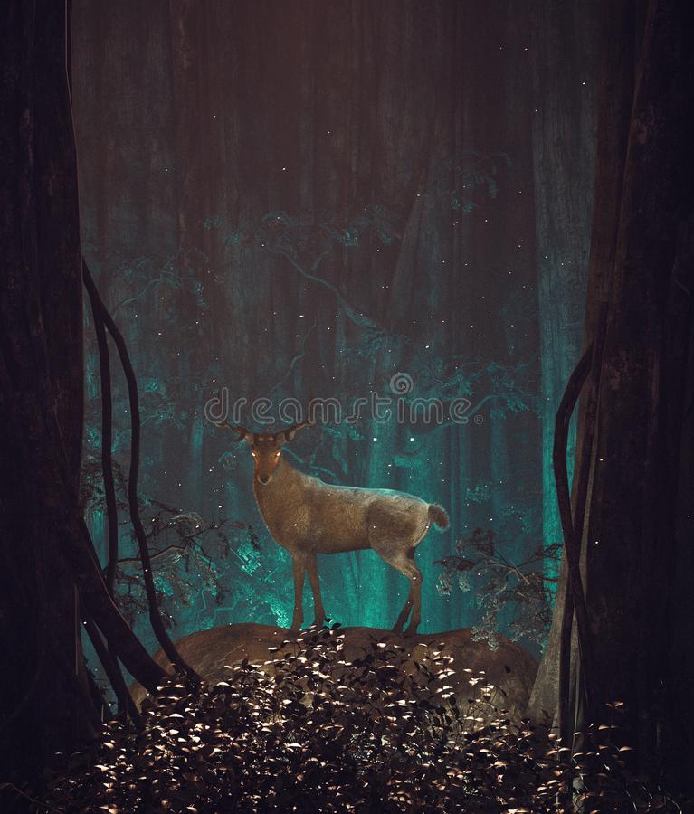 Fantasy deer in mystery forest royalty free illustration
