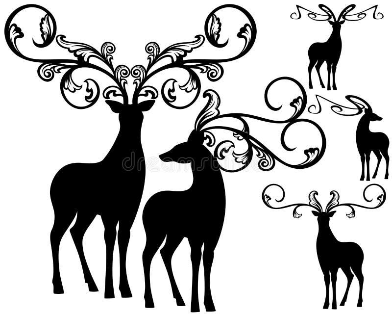 Fantasy deers vector vector illustration