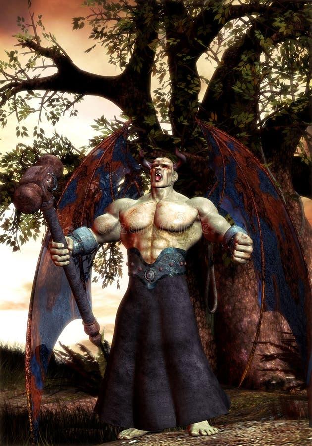 Fantasy demon warrior vector illustration