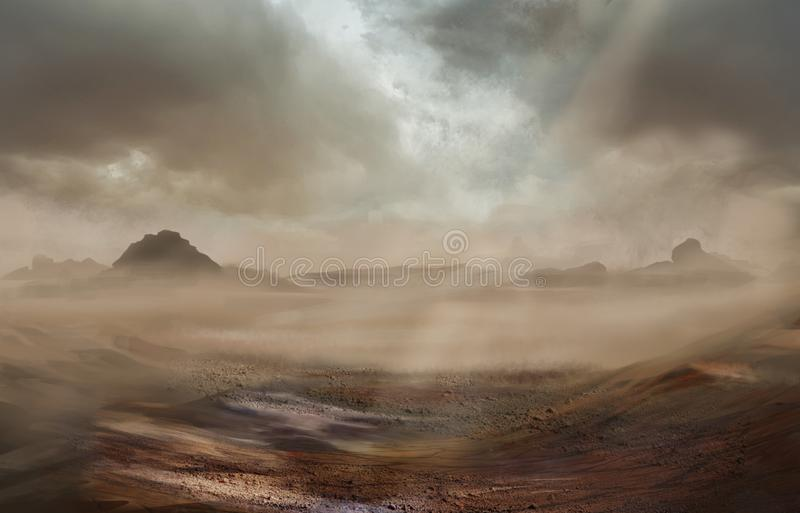 Fantasy desert landscape with sandy storm. And strom clouds above and rays of light stock illustration