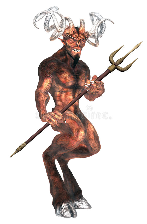 Fantasy devil with a pitchfork stock illustration