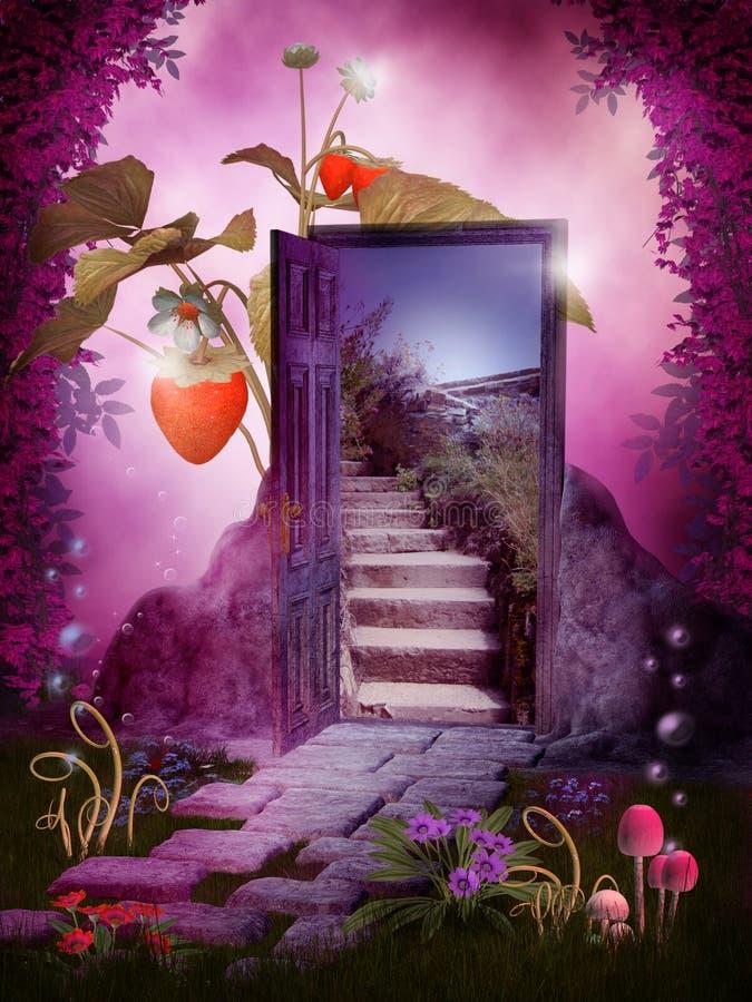 Fantasy door. Fairy scenery with a door, mushroom and strawberries