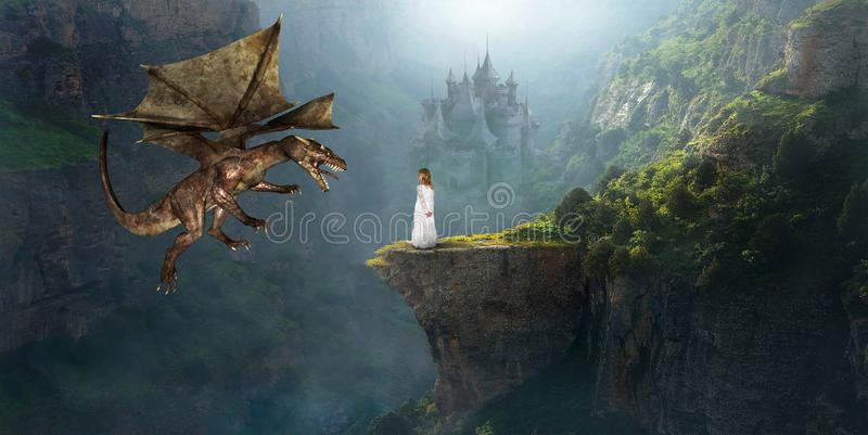 Fantasy Dragon, Castle, Girl, Imagination, Princess. A young princess girl in a white dress uses her imagination to play with a flying dragon by an old stone