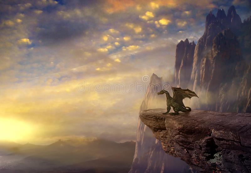 Fantasy dragon on the rock. Dragon on the rock in the sunset. 3D rendering stock illustration
