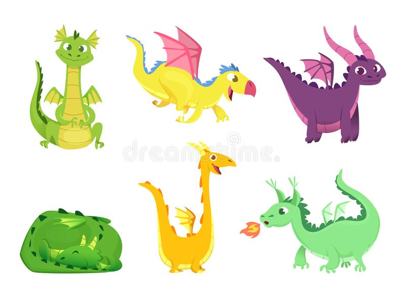 Fantasy dragons. Cute reptiles amphibians and fairytale dragons with big wings sharp tooth wild creatures vector cartoon royalty free illustration