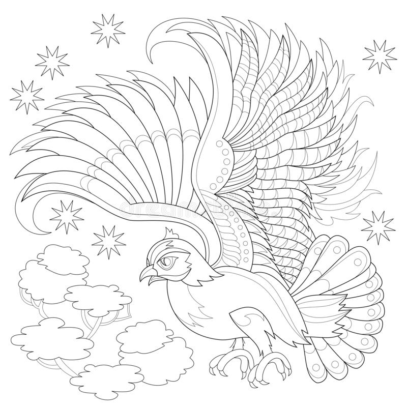 Fantasy drawing of flying owl from fairyland. Black and white page for coloring book. Printable pattern for modern print, t-shirt, embroidery, Henna, Mehndi vector illustration