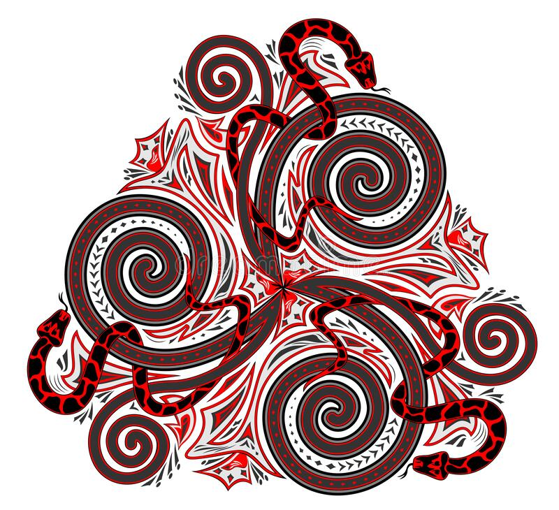 Free Fantasy Drawing Of Celtic Popular Ornament Of Trickle Symbol And Interweaving Snakes. Printable Template For Modern Print. Royalty Free Stock Images - 170289379