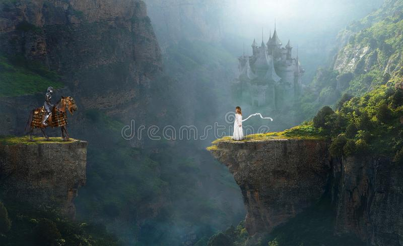 Fantasy Dream, Imagination, Knight, Girl. A young girl child uses her imagination to pretend with a medieval knight hero in a fantasy landscape. Castle in royalty free stock photo