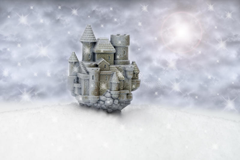 Fantasy Dream Snow Castle. A fantasy dream snow castle sits upon a snowy landscape. Snowflakes fall from the sky as it is snowing