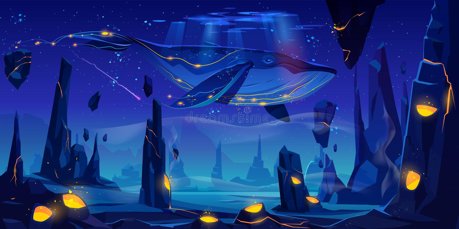 Fantasy dream, space fairy tale with huge whale royalty free illustration