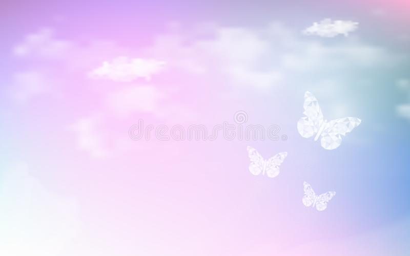 Fantasy dreaming sky with low poly butterflies in pastel color background. Hologram heaven rainbow and magic colorful cloudscape stock illustration