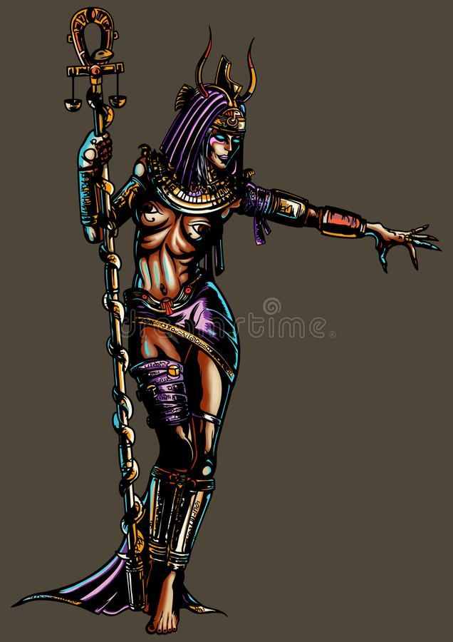 Fantasy egyptian sorceress woman. Illustration a fantasy woman in an ancient egyptian costume. She holds an ankh-staff with a snake stock illustration