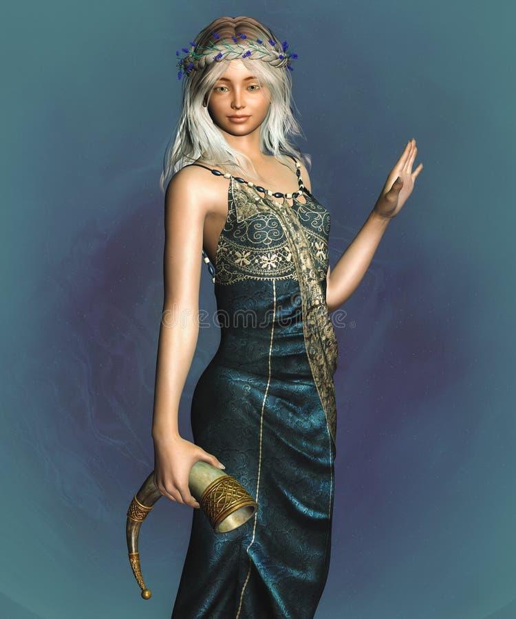 Fantasy Elf. 3D render of a fantasy elf girl with horn stock illustration