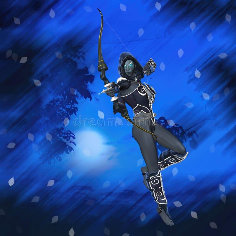 Fantasy Elf Race Archer Bow Arrows Illustration royalty free stock photo