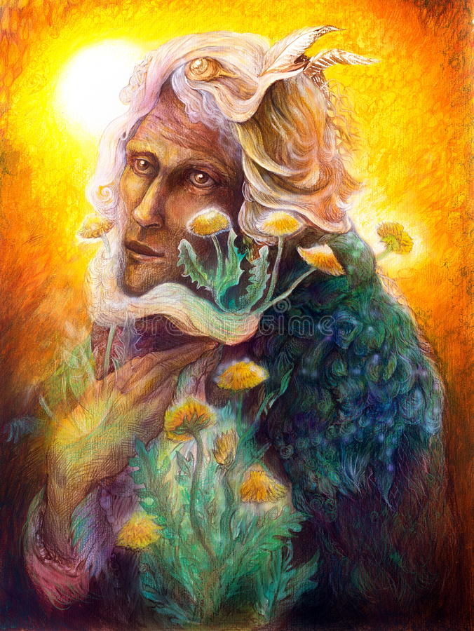 Fantasy elven fairy man portrait with dandelion, colorful. Fantasy elven fairy man portrait with dandelion, beautiful colorful detailed fairytale painting of an vector illustration