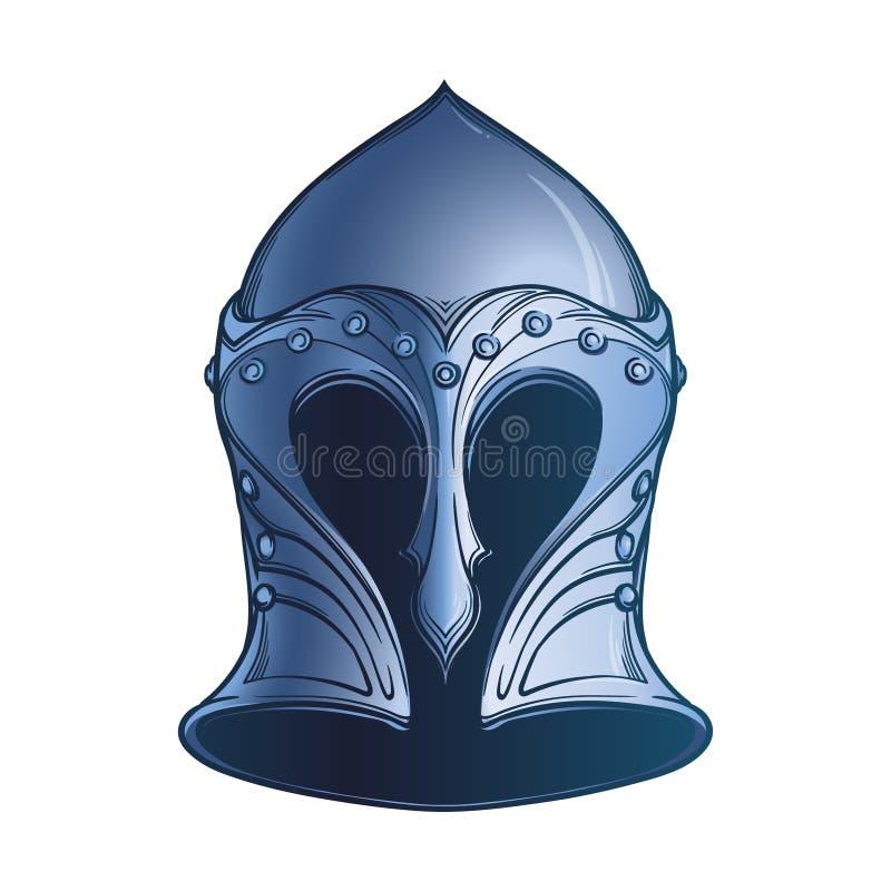 Fantasy Elven Helmet. Heraldry element. Black a nd white drawing isolated on white background. EPS10 vector illustration royalty free illustration