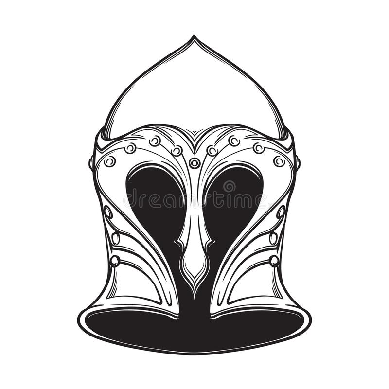 Fantasy Elven Helmet. Heraldry element. Black a nd white drawing isolated on white background. EPS10 vector illustration stock illustration