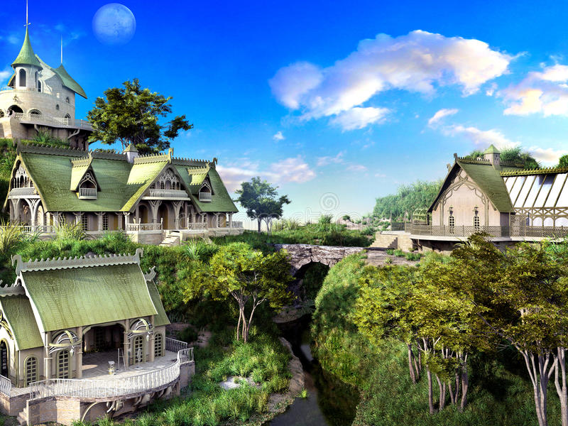 Fantasy elven town. Fantasy scenery with elven town, river and bridge vector illustration