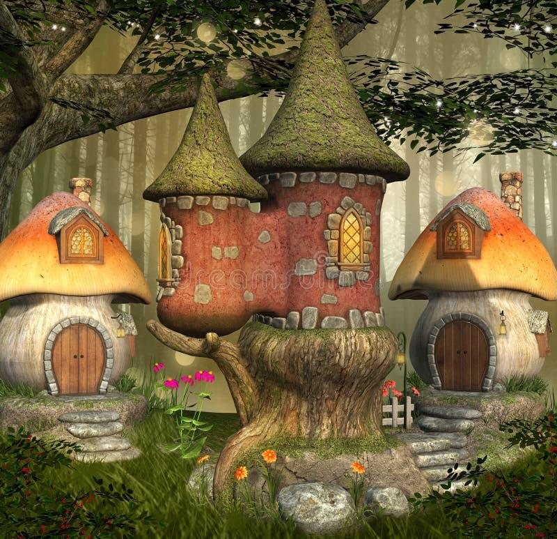 Fantasy elves mushrooms village - 3D illustration. Fantasy elves mushrooms village in an enchanted bright forest - 3D illustration royalty free illustration