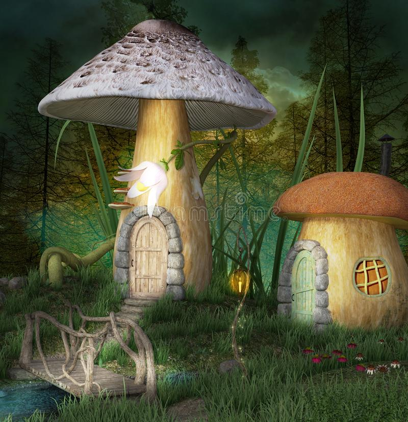 Fantasy elves village. Mushrooms houses and bridge in the middle of the forest - Elves village vector illustration