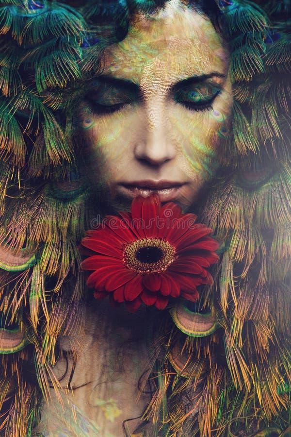 Fantasy fairy. Fantasy beautiful woman portrait with flower, composite photo stock photos