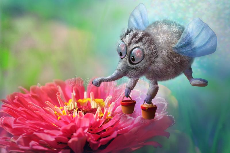 Fantasy fairy bee flies with buckets of honey to beautiful red flower collect pollen, magic character vector illustration