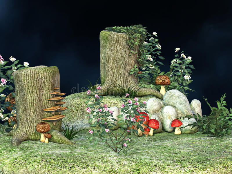 Fantasy fairy mushroom garden. Fantasy fairy mushrooms garden with flowers and tree stumps royalty free illustration