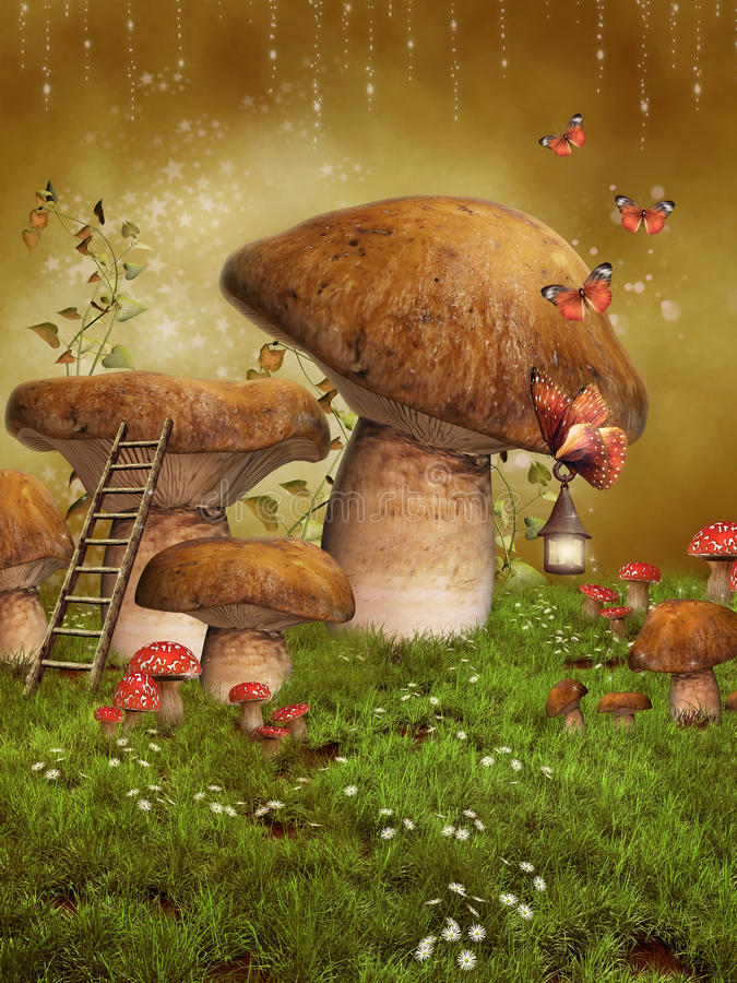 Fantasy fairy mushrooms vector illustration