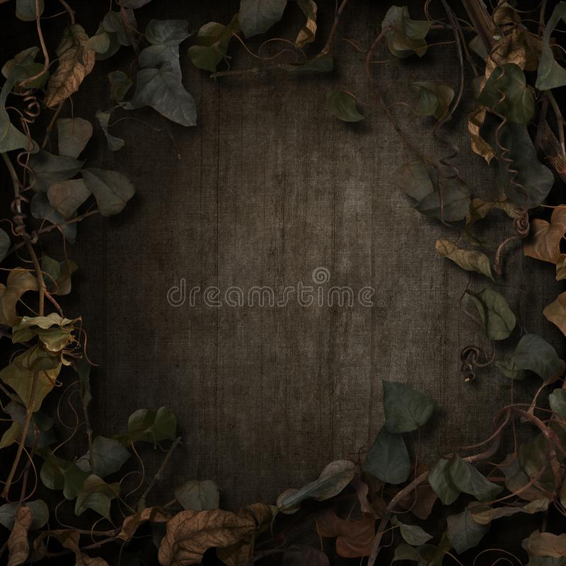 Fantasy fairytale vines border dark. Fantasy fairytale background idea, vines on textured background stock illustration