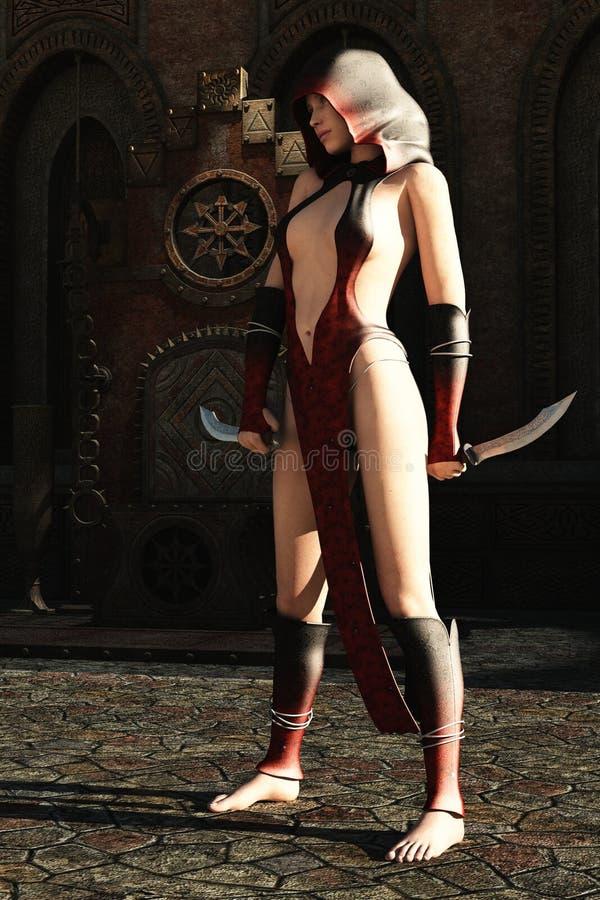 Fantasy female assassin and empty throne