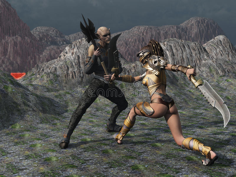 Fantasy female warrior faces goblin in the mountains stock illustration