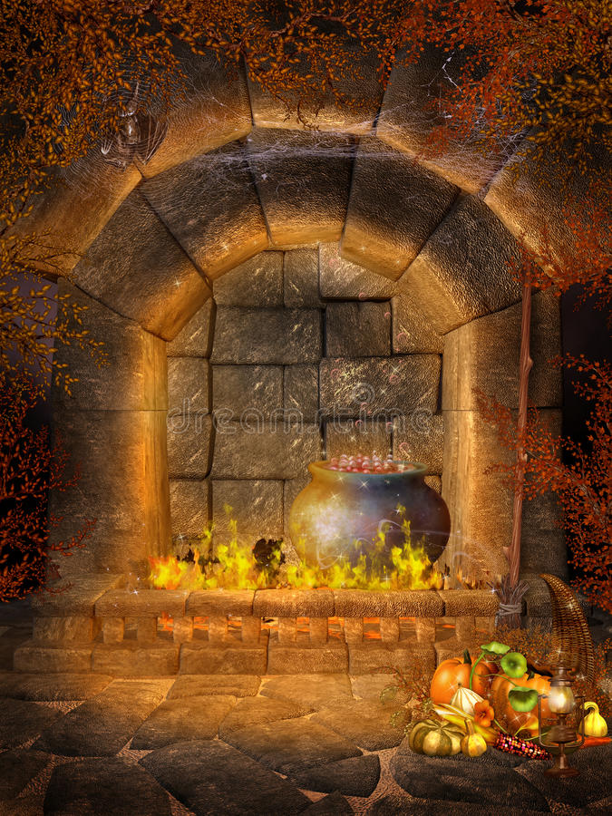 Download Fantasy Fireplace With Bats Stock Illustration - Image: 20963375