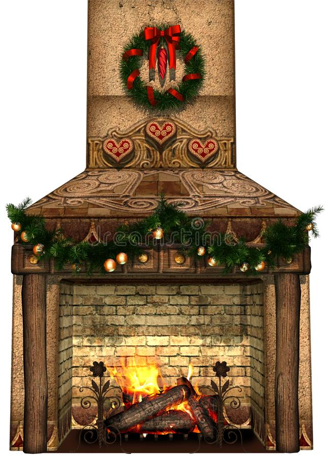 Fantasy fireplace with a Christmas garland stock illustration
