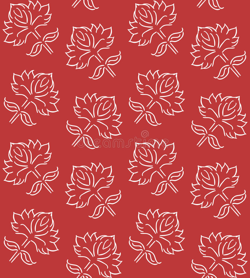 Fantasy floral seamless pattern with ethnic style hand drawn leaf elements, white on deep red, vector illustration royalty free illustration