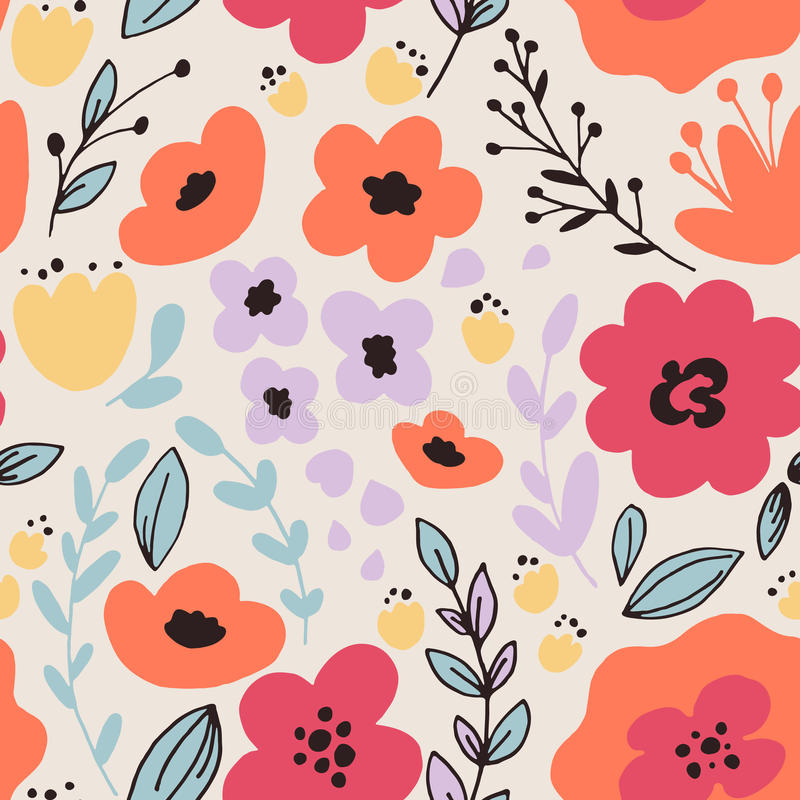 Fantasy flowers seamless pattern. Floral seamless pattern with leaves and fantasy flowers. Vector background stock illustration