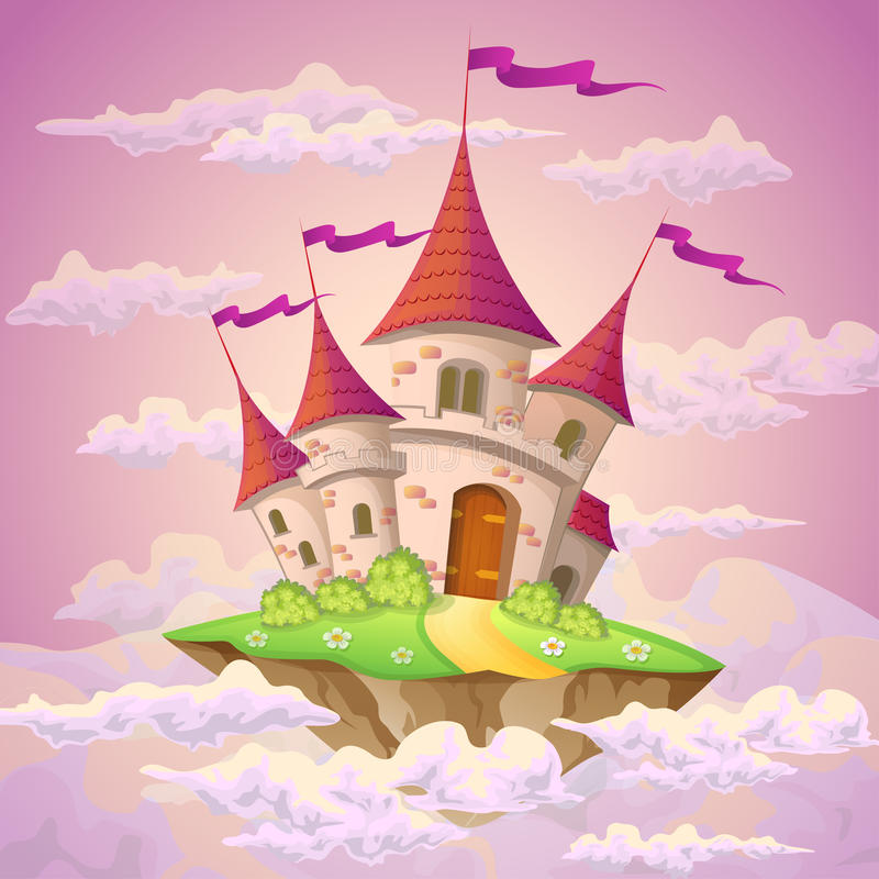 Fantasy flying island with fairy tale castle in clouds royalty free illustration